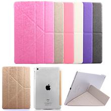 For Apple iPad Air 2 Transformer Fold Flip Smart Case Bracket For Ipad 6 Transparent Matte Back Cover Sleep Wake Up(China (Mainland))
