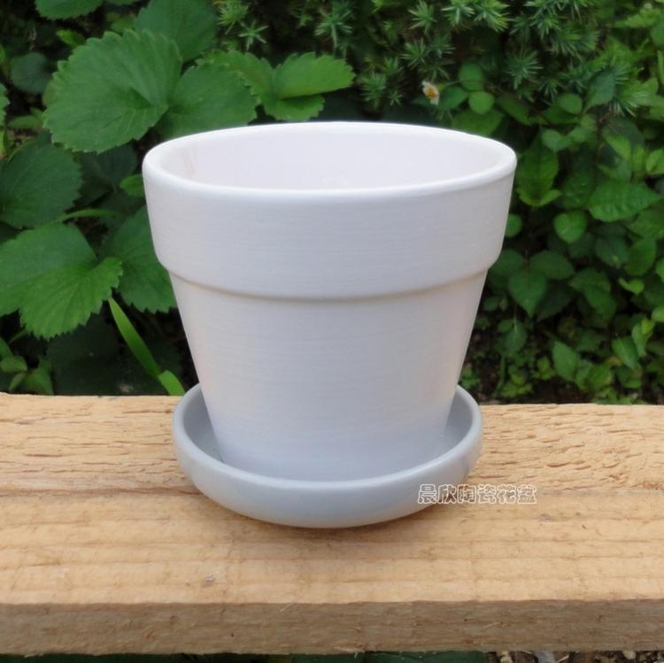 Ceramic POTS Pure and white light European indoor decoration model Add chassis flowerpot(China (Mainland))