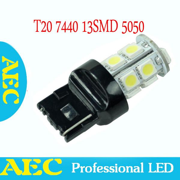 10X car led T20 W21W 7440 13 SMD 5050 led 13smd led turn brake light bulb lamp WHITE RED YELLOW BLUE(China (Mainland))