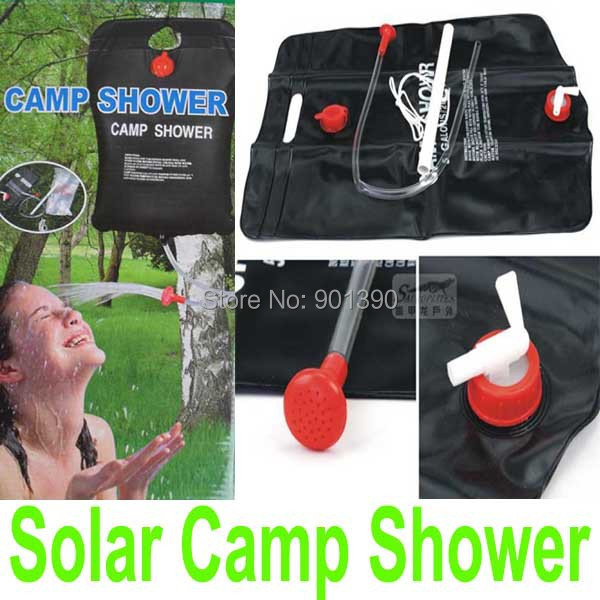 free shipping Super Solar Camp Hiking Shower 20L/ 5 Gallon Water Camping Shower bag Solar Heated Outdoor Shower Water Bag