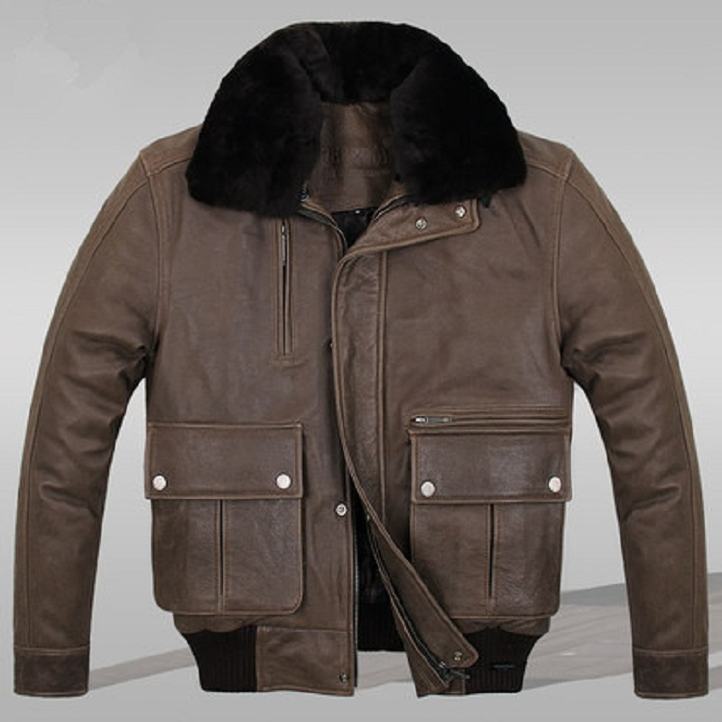 Здесь можно купить  Flight Jackets Leather2015 Spring  Autumn  Winter BlackBrown Casual Full Turn-down Collar Genuine LeatherPockets MenJSH022  Одежда и аксессуары