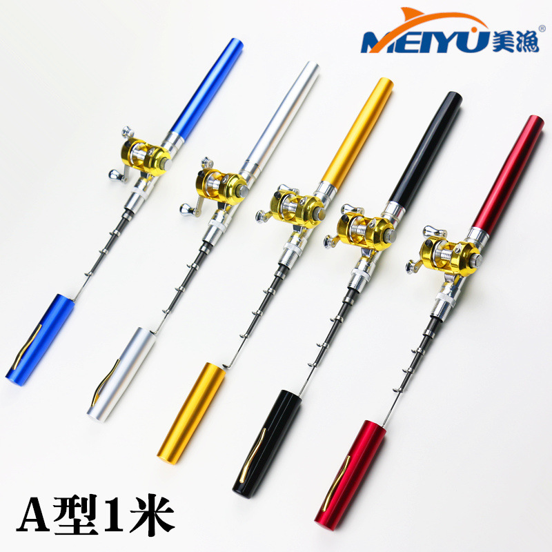 1m mini aluminum pocket pen fishing rod small ice fishing for Mini pen fishing rod