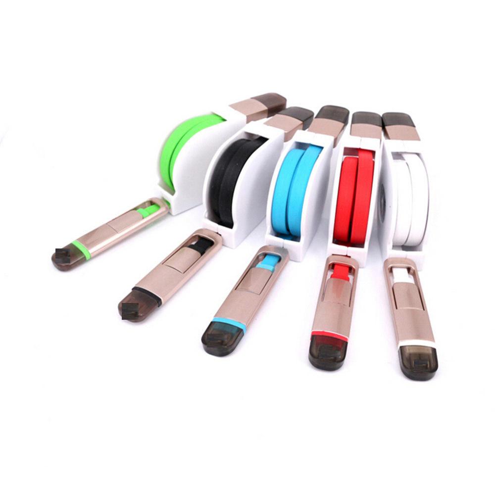 Colorful Retractable 8P & Micro USB Data Sync Charging Cable Line iPhone 5 5s 6 Samsung Galaxy HTC Xiaomi Meizu - ZYH e-Digital Store store
