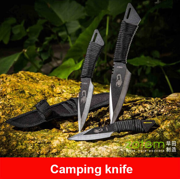 Three Piece Suit of Camping Knife & The Scorpio Straight Knife Set &Tactical Knife& Bowie Knife&Hunting knife #09(China (Mainland))