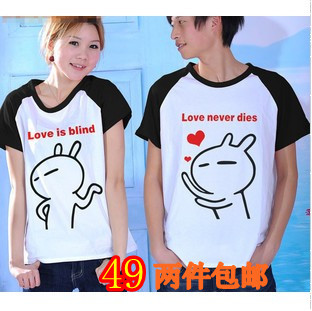 New arrival 2012 summer male female lovers 100% short-sleeve cotton t-shirt rabbit cartoon