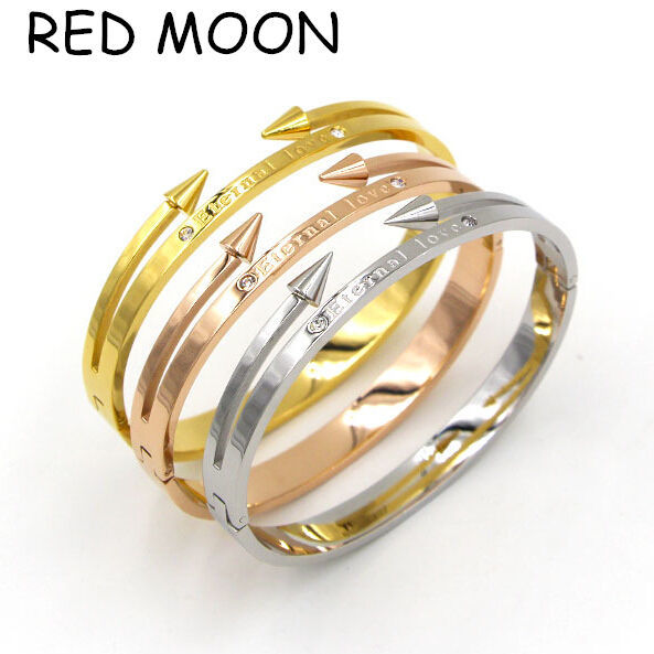 Top Quality Brand Jewelry Stainless Steel Eternal Love Bangle Bracelet Gold Women Nail Arrow Bangle for Girls Pulseras Mujer(China (Mainland))