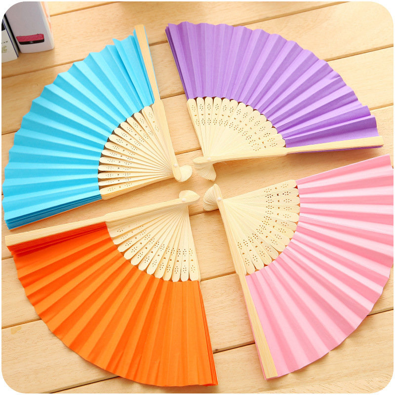 Folding 1Pcs Summer Cute Japanese cartoon Hand Paper Fans Pocket Folding Bamboo Fan Free Shipping 5ZCF018(China (Mainland))