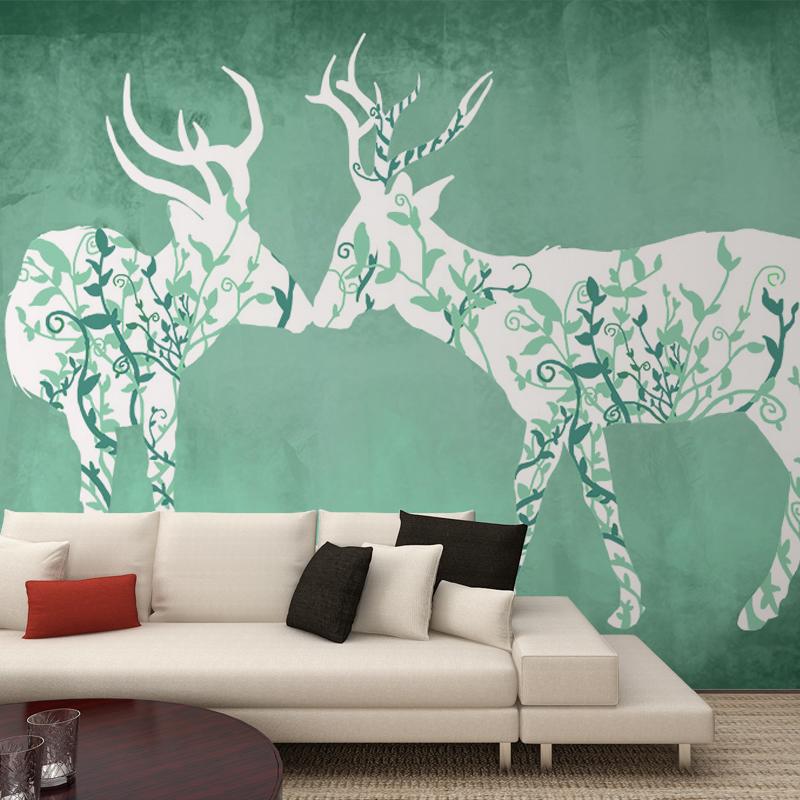 Popular deer wallpaper buy cheap deer wallpaper lots from for Deer wall mural wallpaper