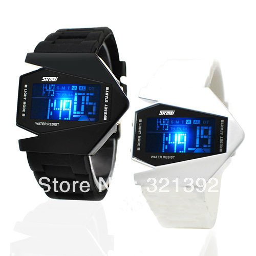 Wholesale- Electronic Watch LED Aircraft watches Plane Digital watch Light Bomb Watch Stainless steel Back Silicone Unisex