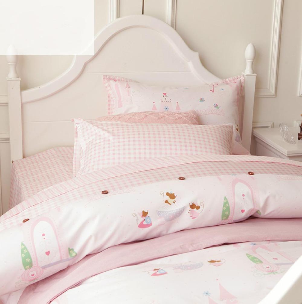 Cute cartoon pink single bed set,twin teenage kids girl plush cotton comfortable home textiles sheet pillow case duvet cover - secret garden201307 store