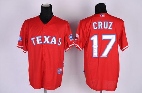 Wholesale cheap mens baseball jerseys.texans rangers 17 cruz RED jerseys,100%stitched good quality and free shipping.(China (Mainland))