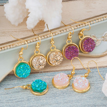 """DoreenBeads Handmade Resin Druzy /Drusy Earrings Gold Plated Color & Golden Pink Purple Round 34mm(1 3/8"""") x 15mm( 5/8""""), 1 Pair(China (Mainland))"""