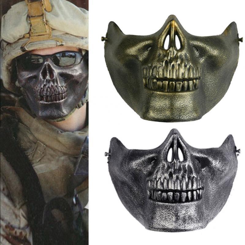 1pc Skull Skeleton Gift Horror Fans Stage Props Airsoft Paintball Half Face Protective Mask For Halloween(China (Mainland))