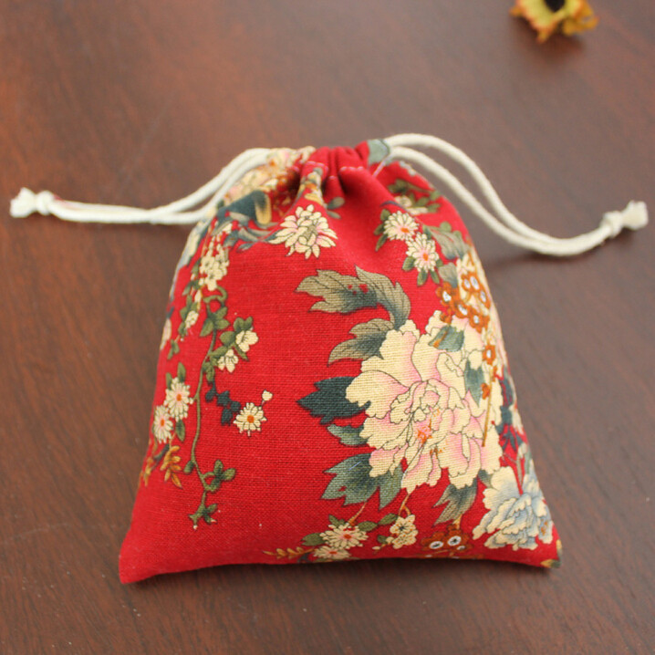 Hot Sale! New Arrival Top Grade Linen Drawstring Bags Peony Flower Jewellery Pouch For Jewellery & Gift Storage(China (Mainland))