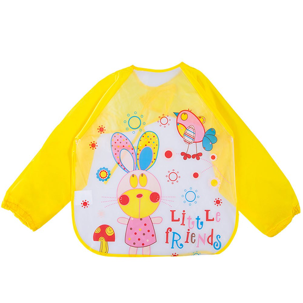 2016 Kids Feeding Bibs Waterproof Toddler Baby Boys Girls Long Sleeve Colorful Point Cartoon Childern Saliva Smock Burp Apron(China (Mainland))