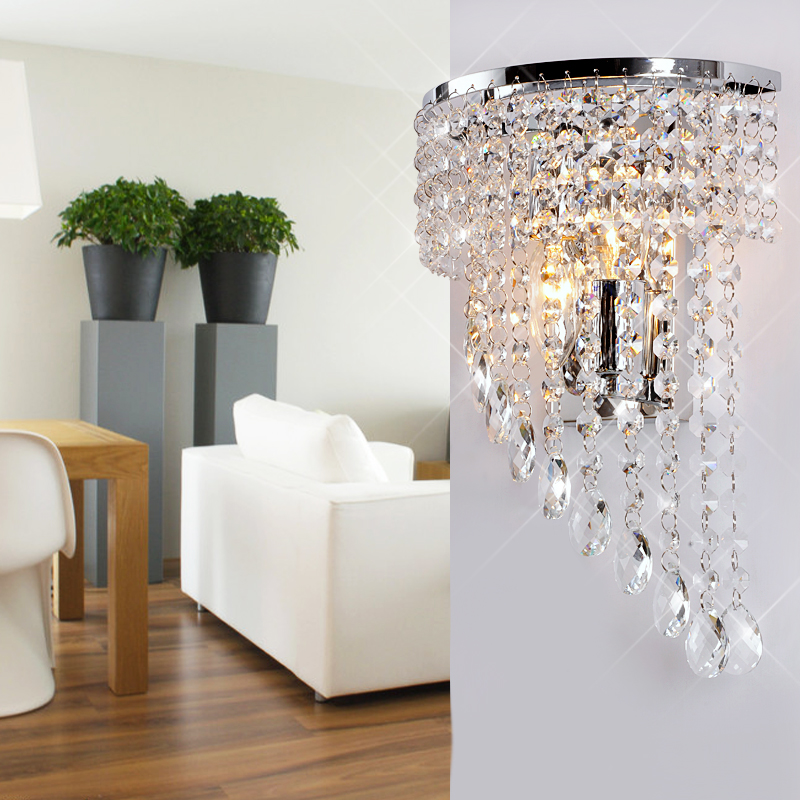 High quality stainless steel k9 crystal wall lamp modern brief bedroom bedside lamp(China (Mainland))