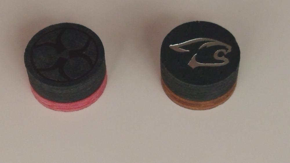 Free shipping 50pcs/lot 14mm billiard pool cue tip pigskin brown cue tip(China (Mainland))