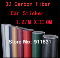 "Free Shipping by EMS 1Roll 1.27*30M (50*1181"", 127*3000cm) 3D carbon fiber vinyl car wrap film-many color option"