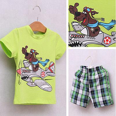 Kids Boy Baby clothes Dog Short Shirts Tops Pants 2 PCS Set Outfits 2-7 Y(China (Mainland))