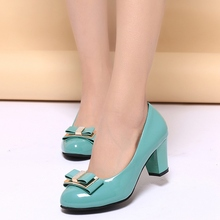 Beige Black Blue Patent Leather Round Toe Cute Bowknot 2016 Spring Fall New Discount Big Size 40 Thick Heeled Women Single Shoes