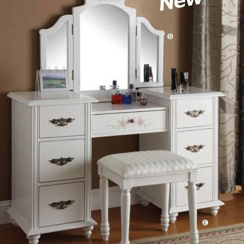 European rustic wood dresser bedroom furniture mirror vanity set white dressers bedroom makeup - Bedroom Makeup Vanity