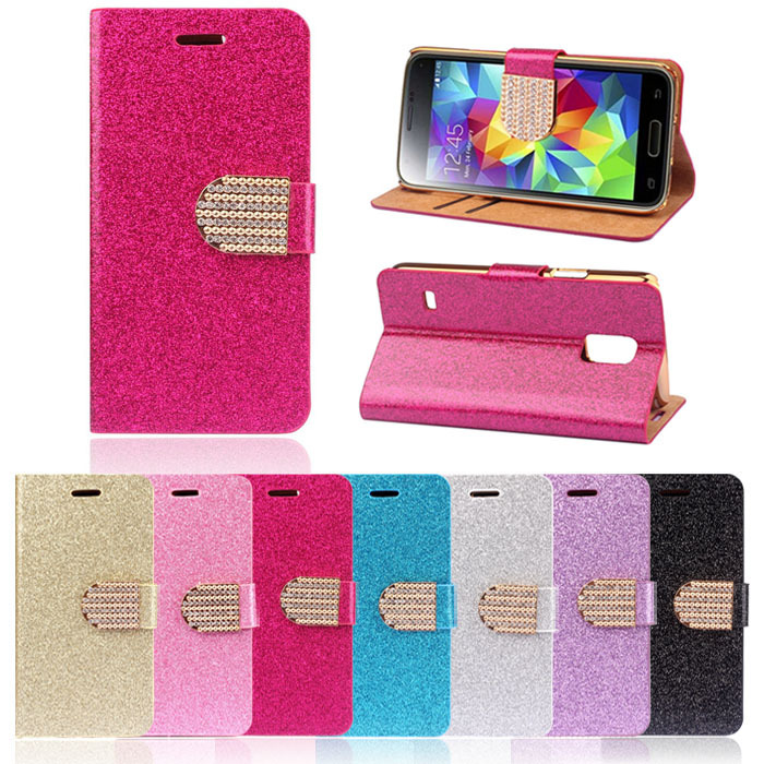 New 1PC Bling Crystals Glitter Wallet Flip Case Cover For Samsung Galaxy S5 Mini Toness(China (Mainland))