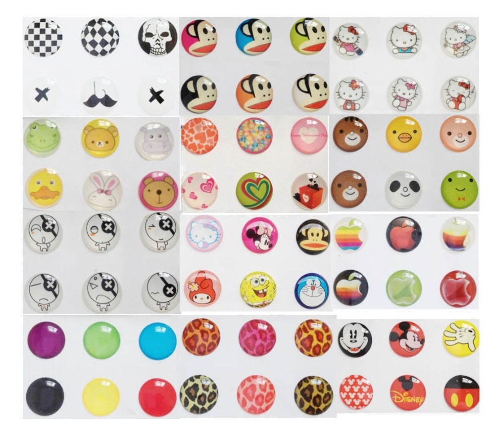 72pcs Hq phone Home Button Sticker Decal for Apple Iphone 4 4s Ipad 1 2 3 4 Cute Cartoon Bear Leopard(China (Mainland))