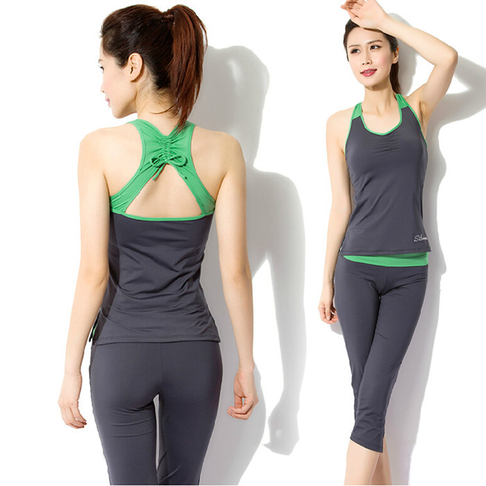 2015 NEW Workout Clothes For Women Running Clothing Comfy Yoga Outfit For Women Yoga Fitness Clothing For Women Gray Top Shorts(China (Mainland))