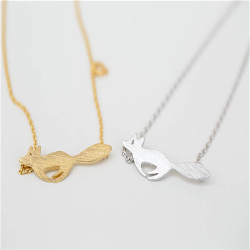 Best Friend Gift Animal Pendant Running Fox Necklace mos necklace(China (Mainland))