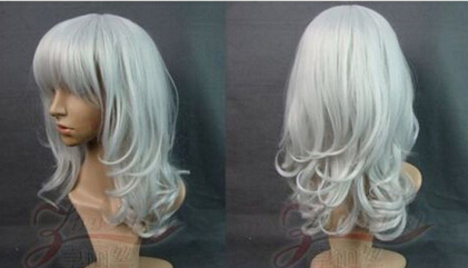 xiuli 0003101 Fashion new short silver white Wavy cosplay wig Medium <br><br>Aliexpress