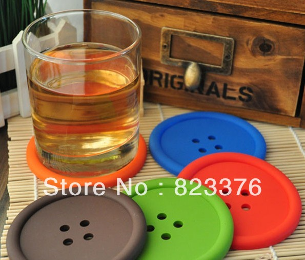 DHL Free shipping 200pcs round silicone coasters cute button coasters Cup mat(China (Mainland))