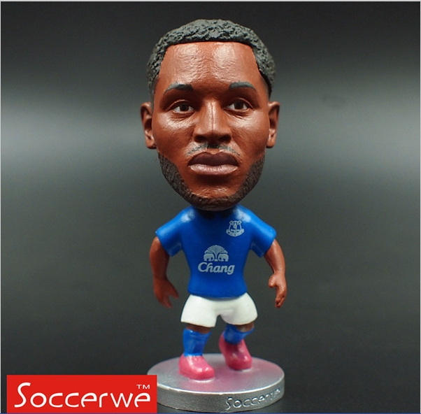 Soccerwe 2015-16 Season 6.5*3.5 cm Size Resin Soccer Doll Everton 10 Lukaku Toy Figure Office Doll Blue Kit(China (Mainland))