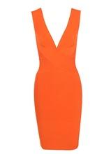 Новое поступление 2018 года пикантные Bodycon лето коктейль клуб платья для вечеринок для женщин мода Nova Orange Plunge Рождественская повязка платье(China)