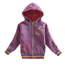 Girl winter coat jacket children cotton hoodies plaid embroidery flowers zipper coat for girls kids winter windproof F3292(China (Mainland))