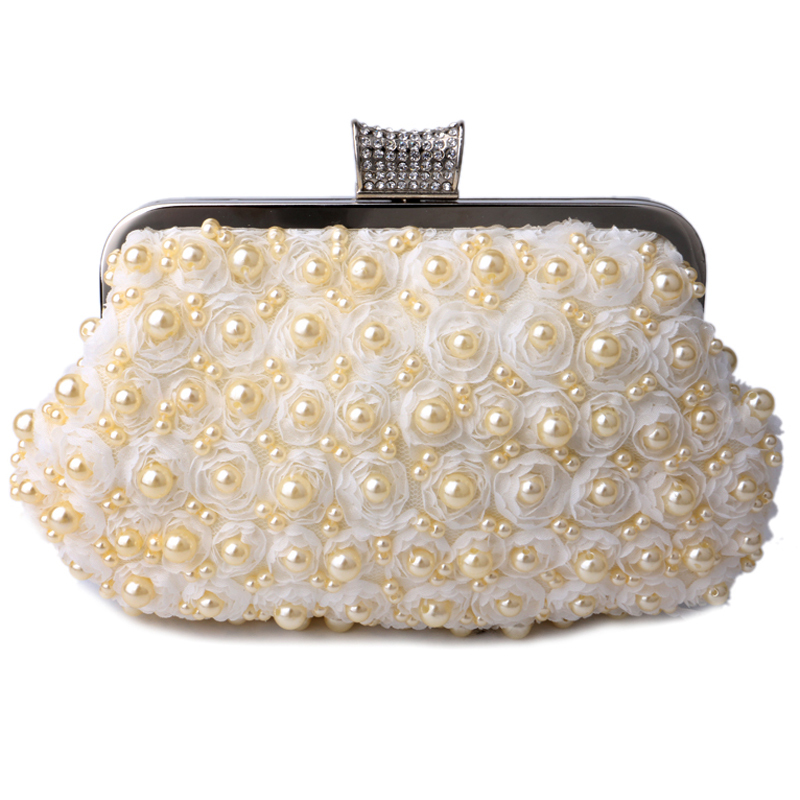 Diamond pearl women evening bag fashion handmade beaded lace rose evening bags shell handbags with chain shoulder purse holder(China (Mainland))