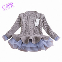 Girl autumn sweater dress 2015 new fashion winter warm long sleeve tutu dresses kids princess clothing baby girls