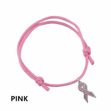 Mi forma estilo Simple rosa/azul/rojo cinta mama Cancer Awareness Charm ajustable cera cordón pulsera supervivencia joyería Regalo 1 Uds(China)
