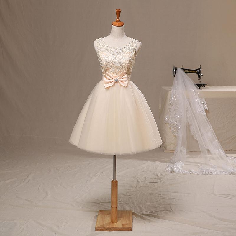 2015 new champagne short bridesmaid dress wedding party for Short champagne wedding dress
