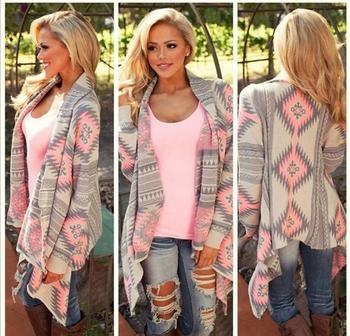 Jackets Coats 2016 new fashion irregular long-sleeved cardigan Women printing speed spring autumn thin coat free shipping