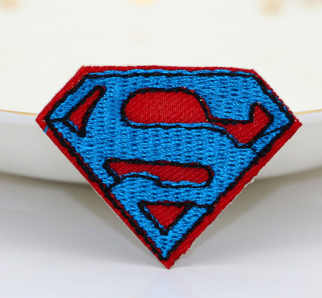 3.5*4.5cm 10pcs Blue color Superman logo embroidered iron on patch. applique DIY accessories Tags Badges(China (Mainland))