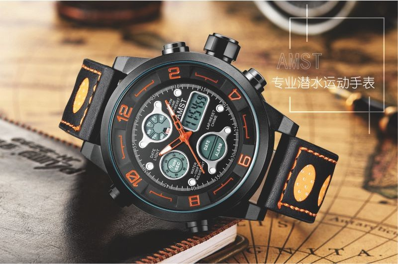 Аутентичные AMST Эми, когда специальный водонепроницаемый LED многофункциональный кварцевые часы военные часы открытый спортивные часы