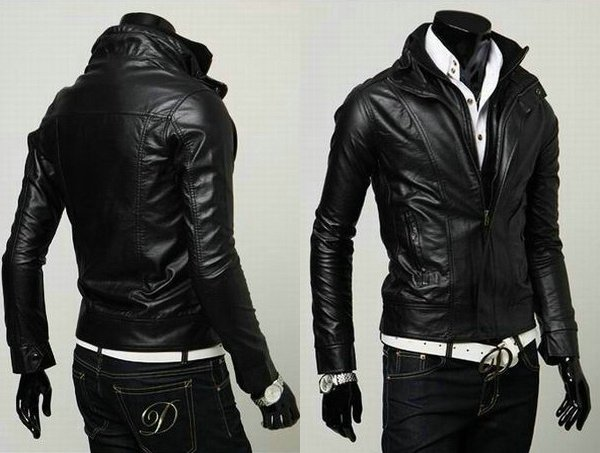 Men Slim Leather Jacket - Jacket