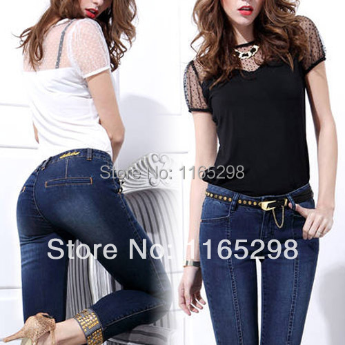 Womens Sexy Lace Splice See Through Sheer T Shirt Tee Tops