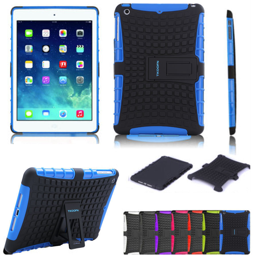 For Apple Ipad Air Protect Shell Rubber Drop Resistance Shockproff Case For Ipad 5 with Bracket Stand 8 Colors(China (Mainland))