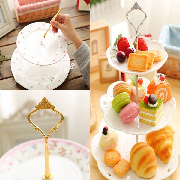 1set New 3 / 2 Tier Wedding Party Cake Plate Stand Handle Gold/Silver Crown  -  Supper Market F store