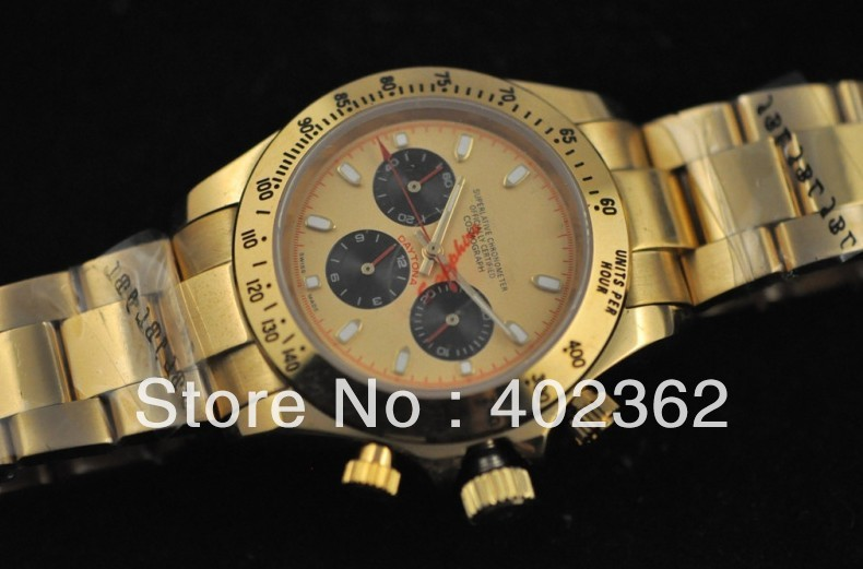 Brand New alibaba Mens Gold Perpetual Mechanical Fold Over Clasp Watch Sports Chronograph brand logo Watches(China (Mainland))