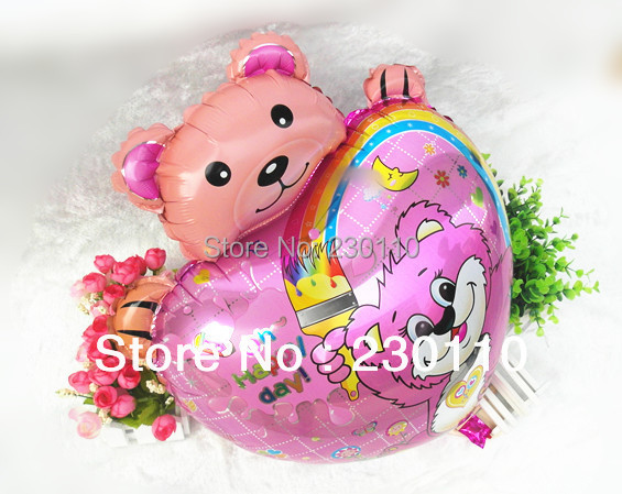 Hot sales ! 5 foil balloons happy bear, helium , party decorations pink blue 44X64CM - Happy Balloon Family store