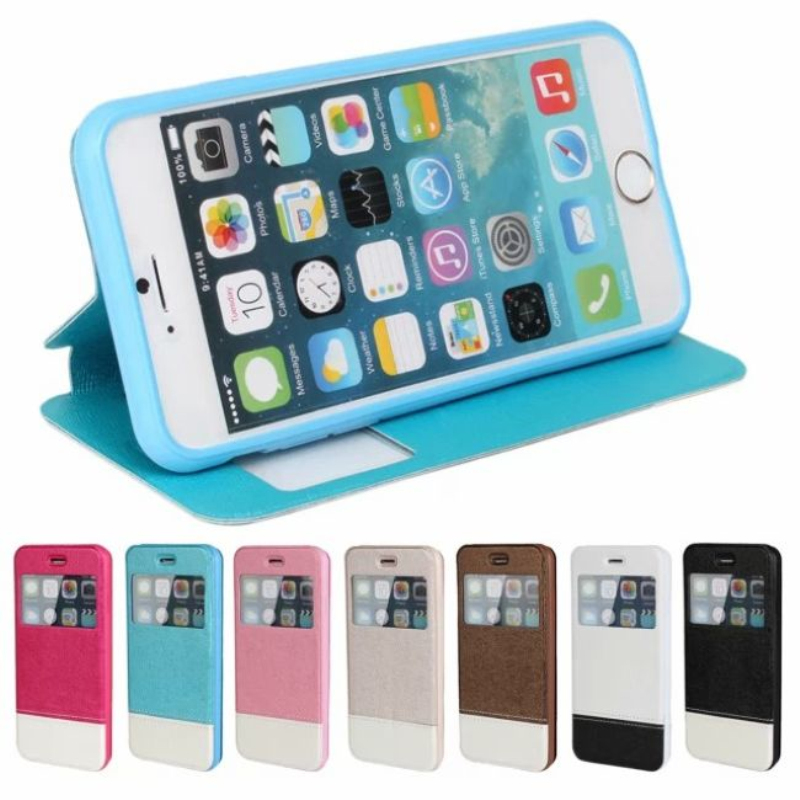 Flip Leather View Window Wallet Cases Cover iphone 6 plus 5.5 4.7 Thinness windows stand phone case housing - Shenzhen DoBetter Co., Ltd store