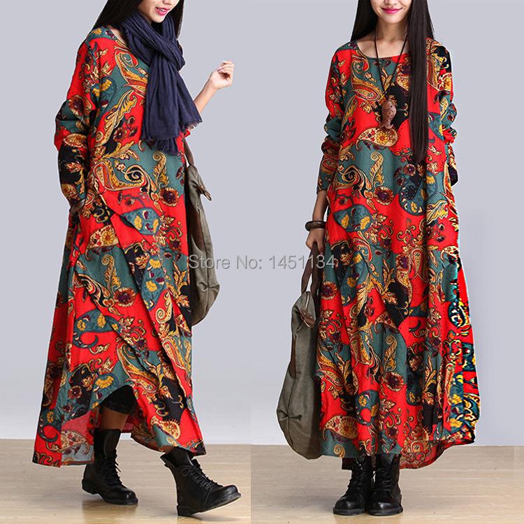 Luxury 2016 Spring New Women Ethnic Vintage Dress Long Sleeve V Neck Desigual