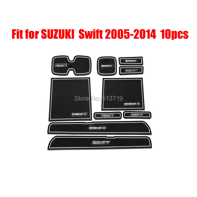 car Non-Slip Interior cup cushion Door Mat covers Cup Mat stickers Fit For SUZUKI Swift 2005 to 2014 10pcs per set